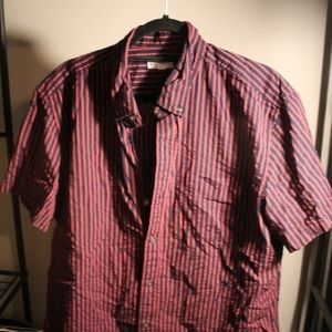 Men's GAP Striped Short Sleeve Button Down Shirt